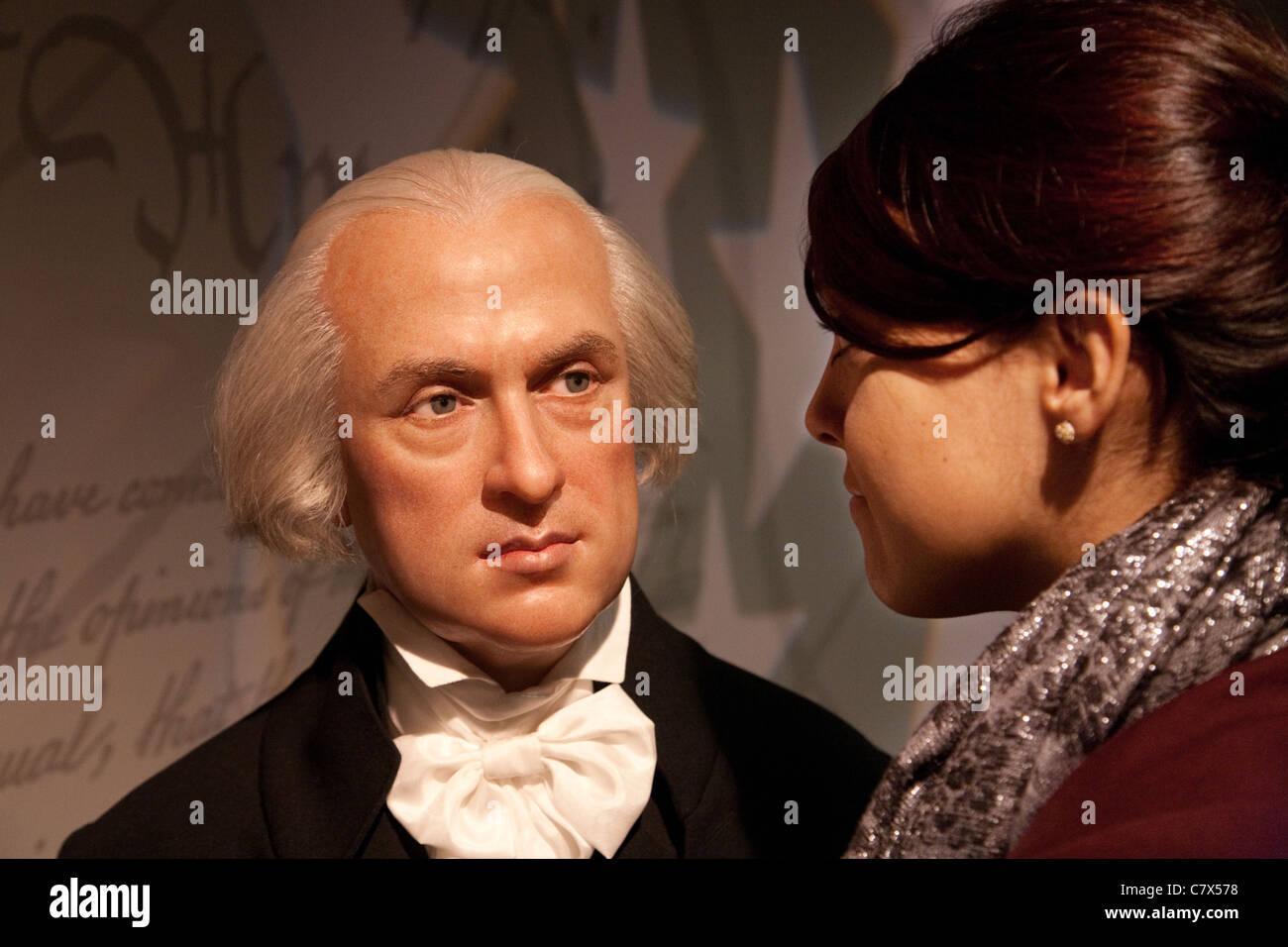 tourist with  waxwork of President George Washington at Madame Tussauds waxworks, Washington DC USA - Stock Image