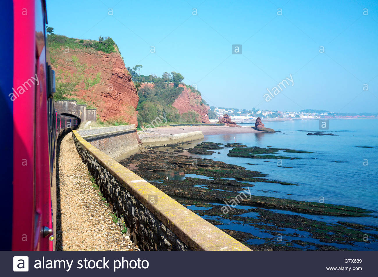 The Dawlish seawall railway section, in south Devon, UK. Stock Photo