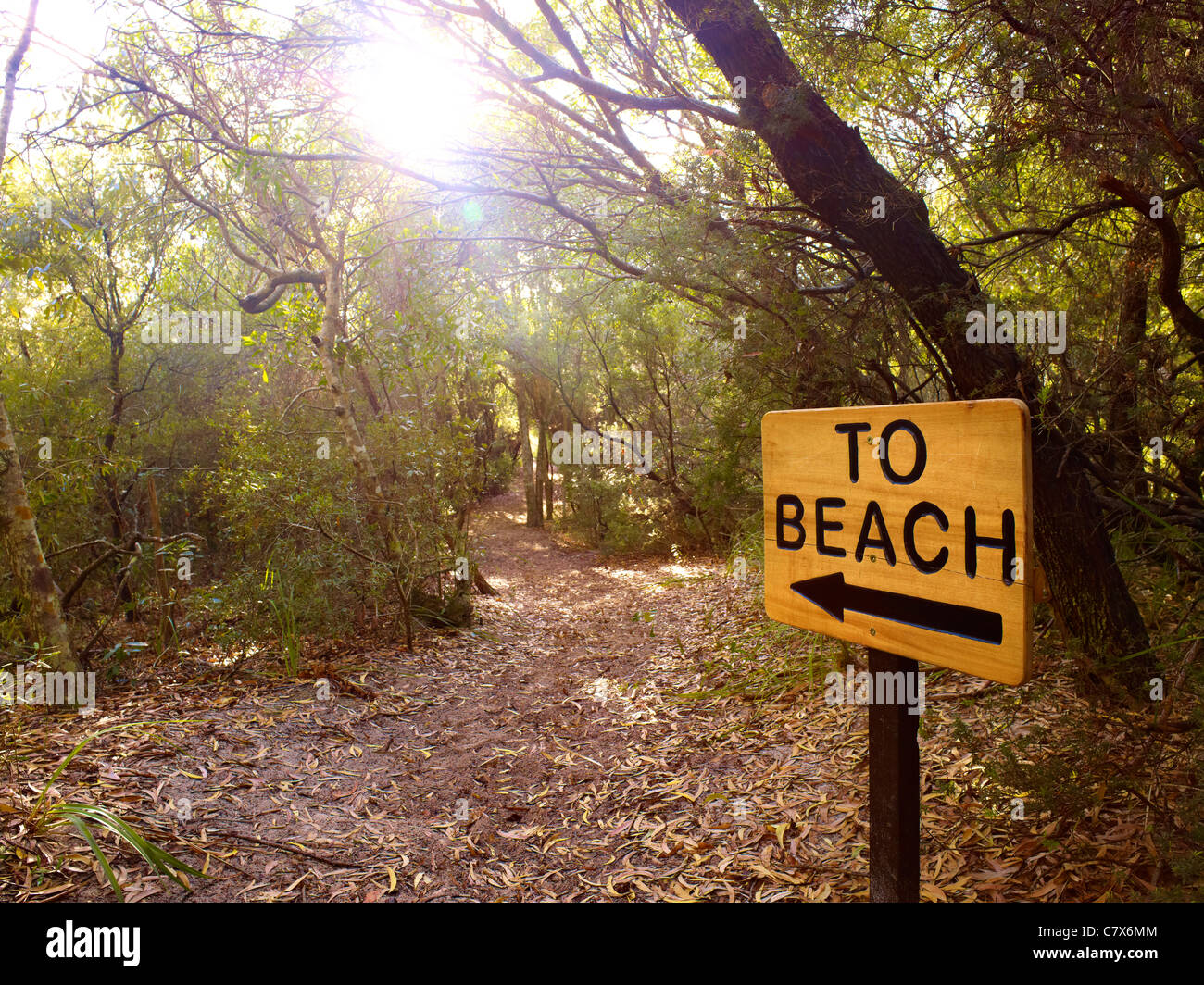 Sign marking track to beach - Stock Image