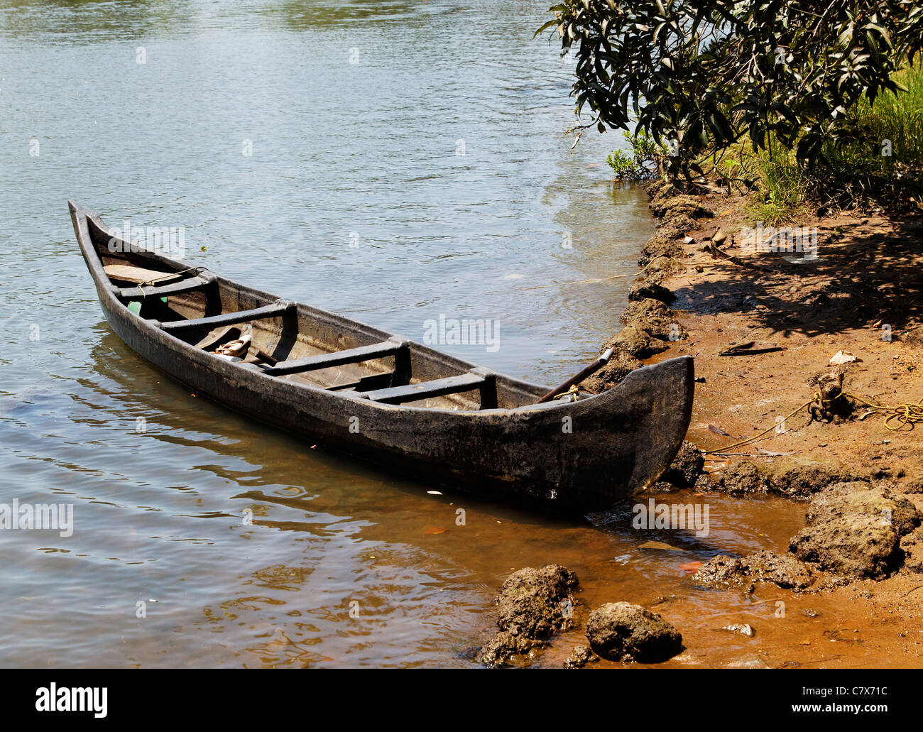 Landscape Moored Wooden Canoe Bank Side On Kerala Backwaters India Horizontal Crop Space And Copy Area