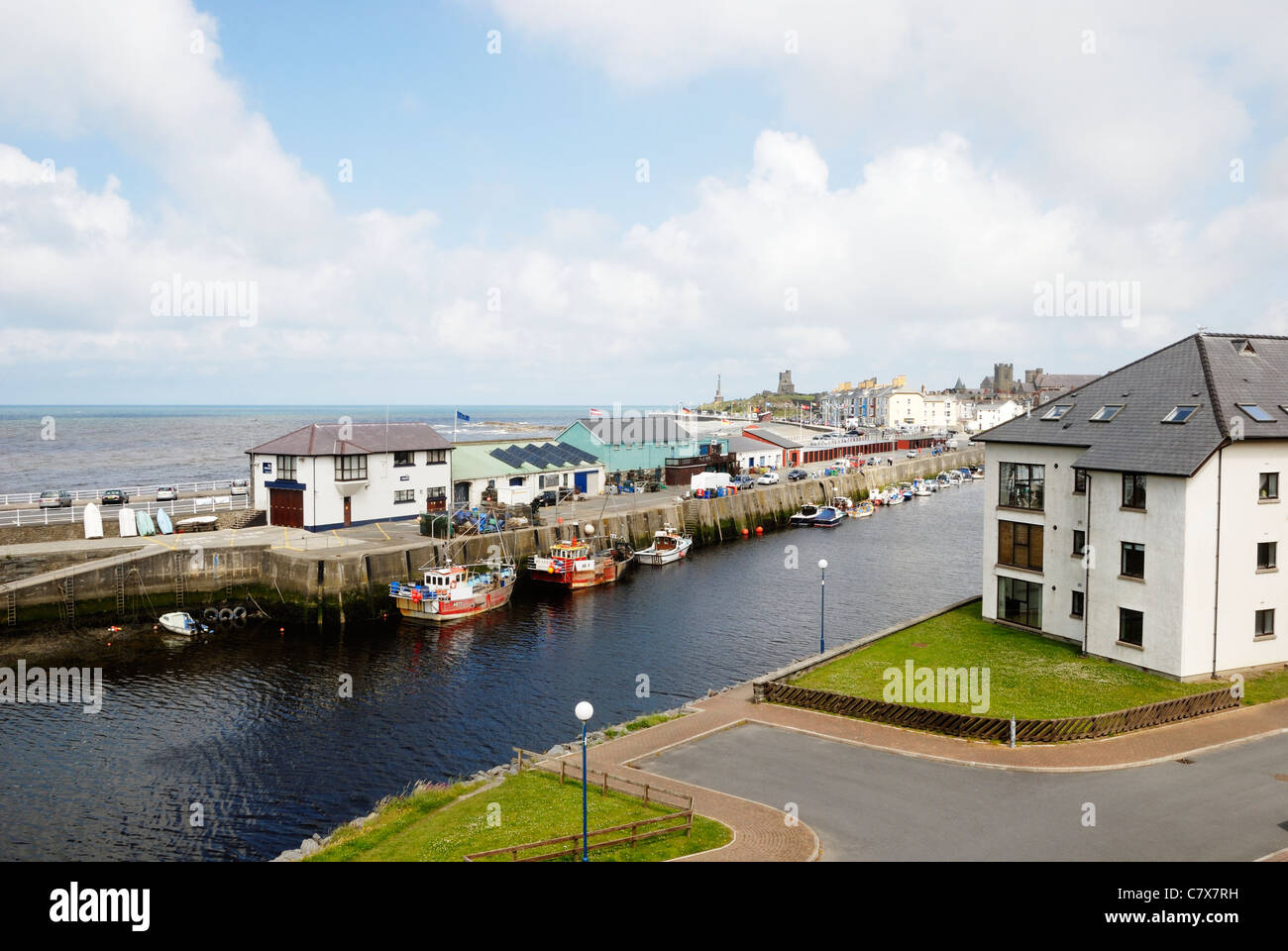 Residential housing development overlooking Cardigan Bay and Aberystwyth harbour, Wales - Stock Image