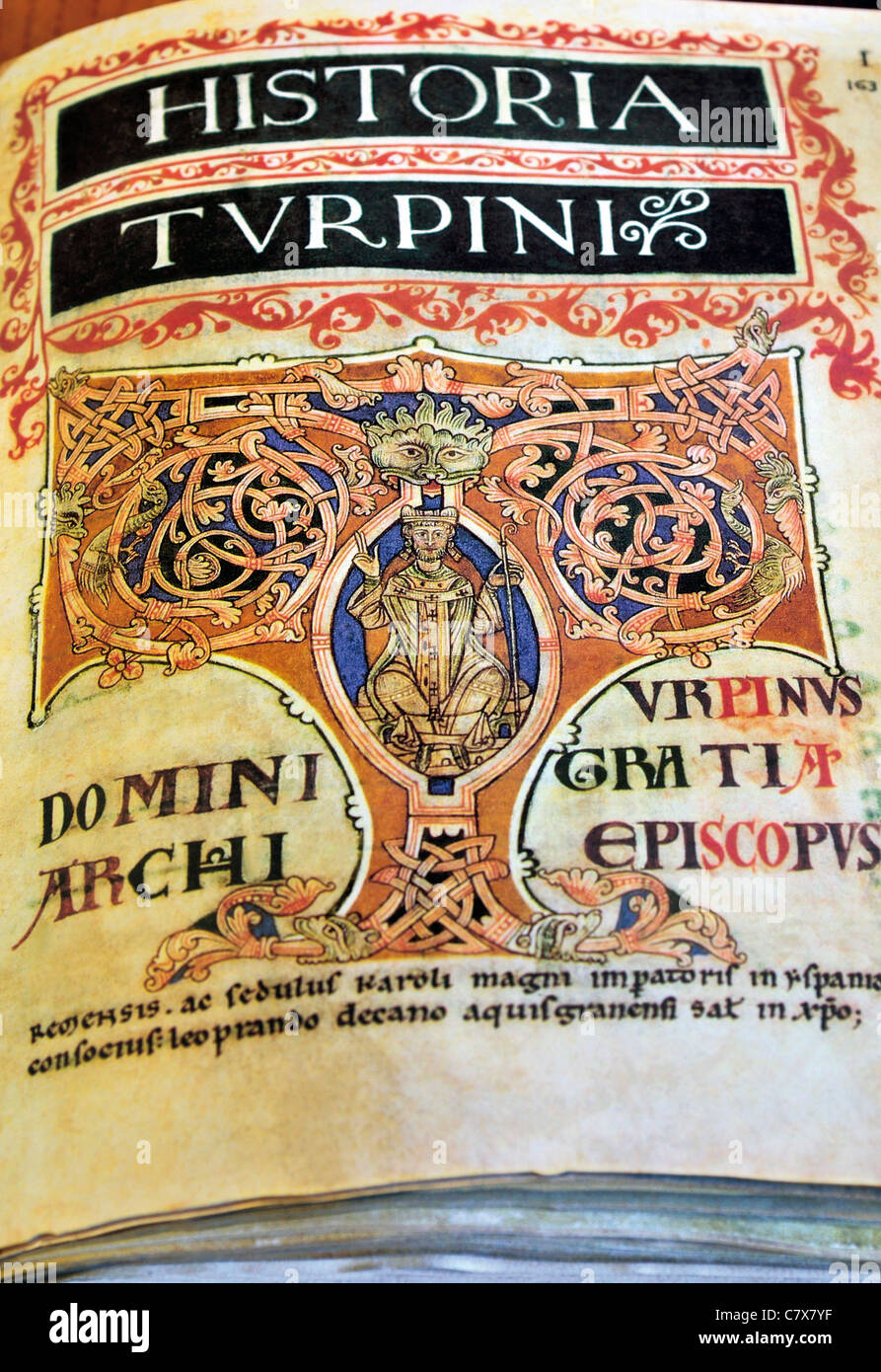 Spain, St. James Way: Medieval Codex Calixtinus in the Library archive of the Cathedral of Santiago de Compostela - Stock Image