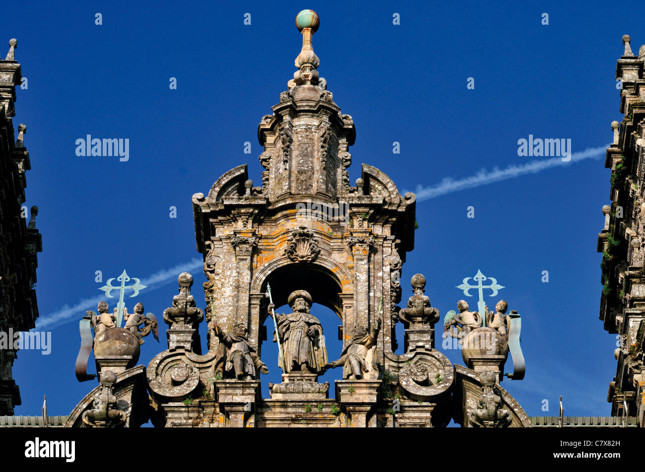 Spain, St. James Way: Detail of the western facade of the Cathedral of Santiago de Compostela - Stock Image