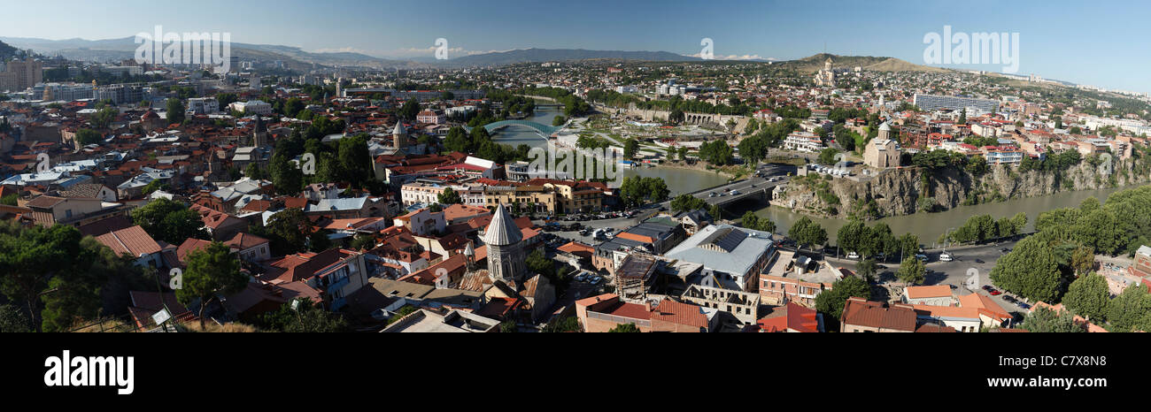 Panoramic view of Tbilisi, capital of Georgia Stock Photo