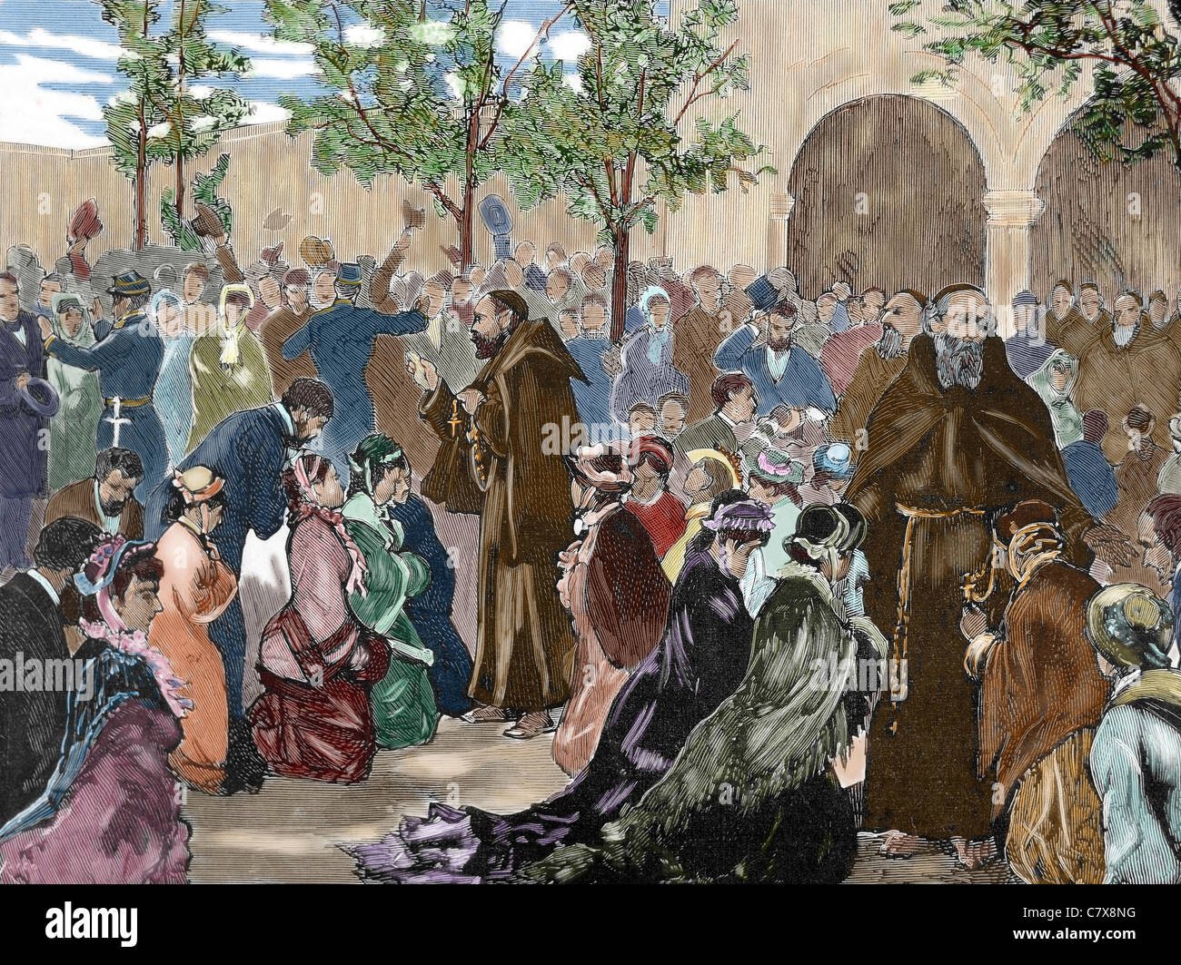 Expulsion of the Capuchin Fathers of their Convent of the Rue de la Sante, (1880). Paris. France. Colored engraving. - Stock Image