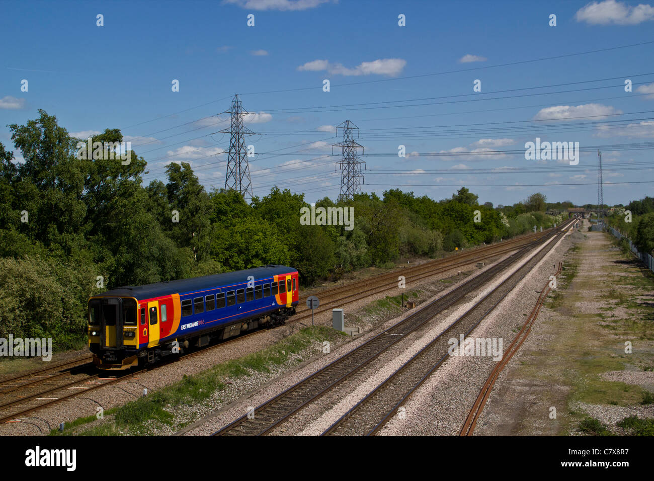 East midlands Trains class 153 single coach diesel multipul unit passes North Staffordshire junction, Willington, - Stock Image
