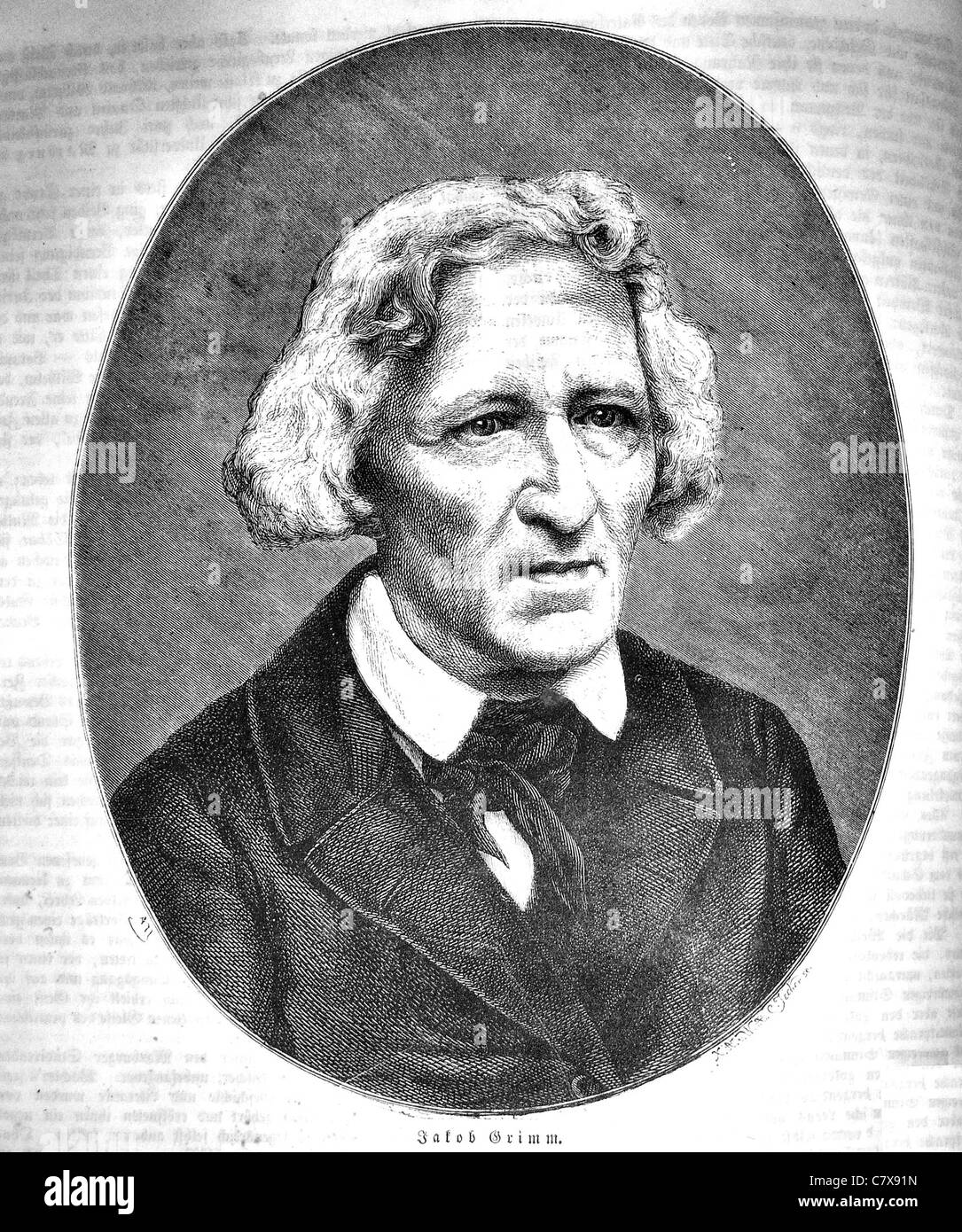 JACOB GRIMM (1785-1863) German philologist and with his brother Wilhelm the author of  Grimms Fairy Tales - Stock Image