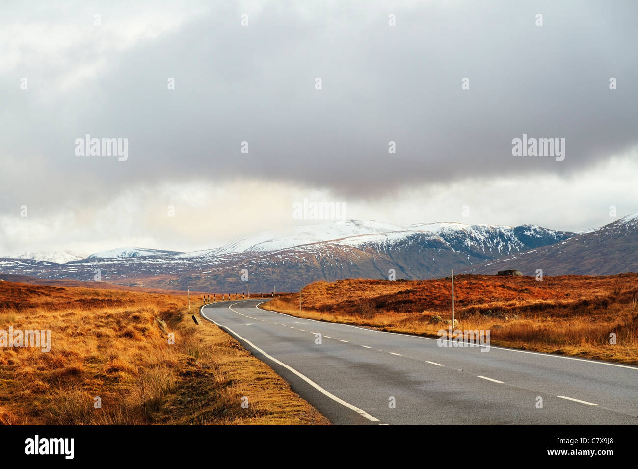 A82 Trunk Road over Rannoch Moor Looking South East, Highland Region, Scotland, United Kingdom - Stock Image