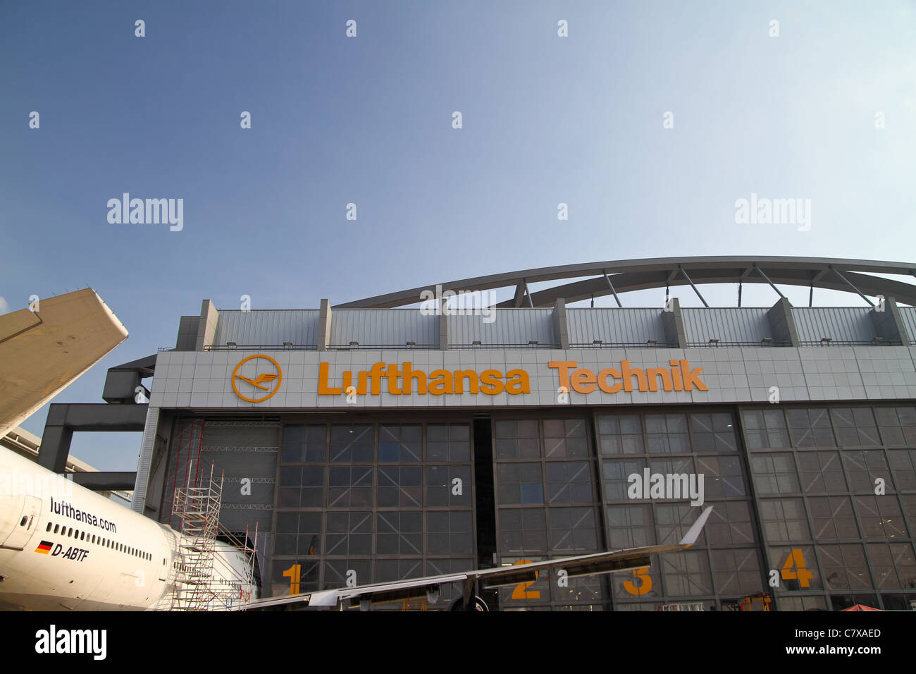 View of the Lufthansa Technik Hangar at the Hamburg Airport. - Stock Image