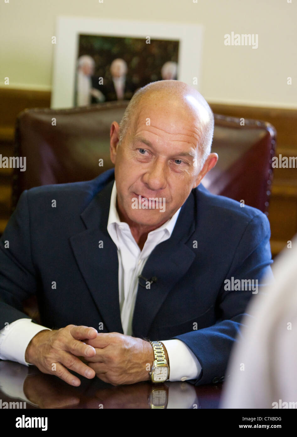 Texas State Senator John Whitmire a democrat from Houston works at his office in the State Capitol building in Austin, - Stock Image