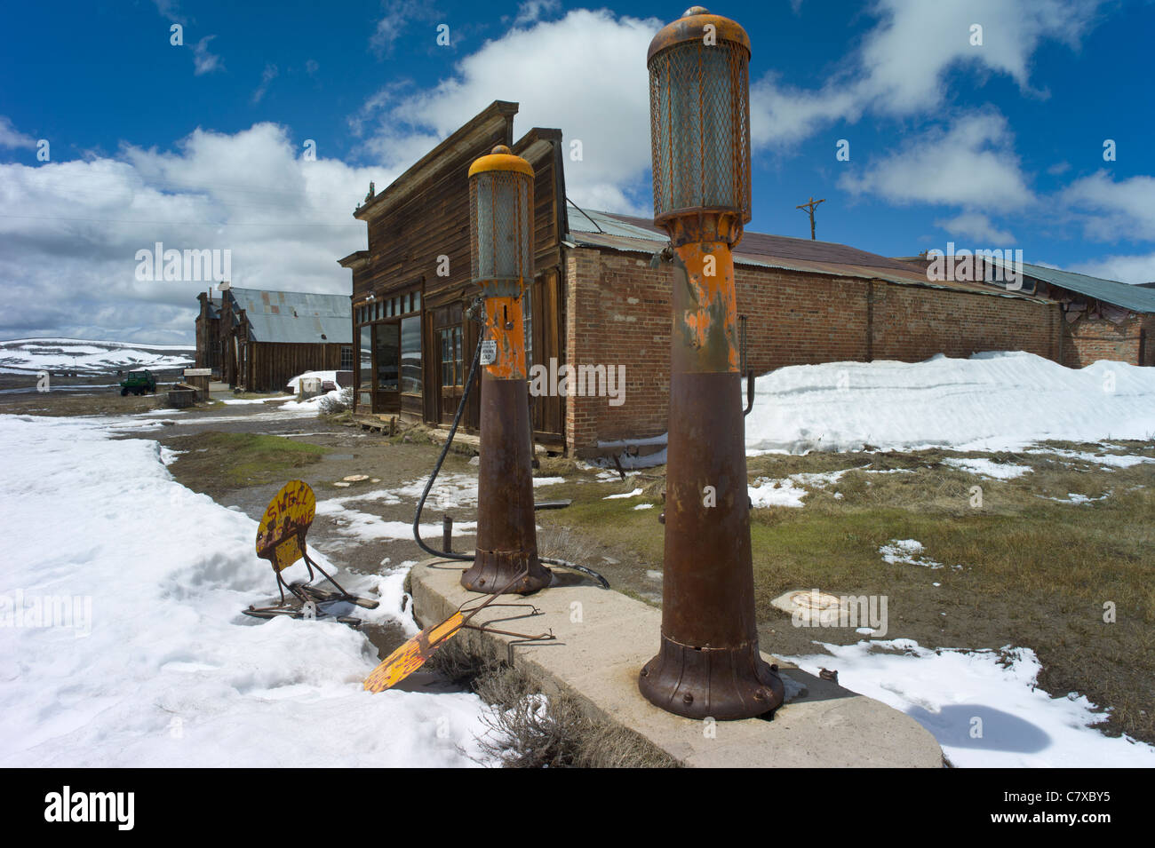 Gas pumps in front of Boone Store and Warehouse, Bodie, a ghost town, California, USA. - Stock Image