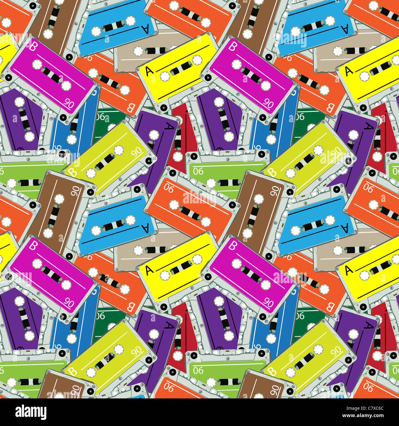 seamless audio tapes pattern, abstract texture; vector art illustration - Stock Image