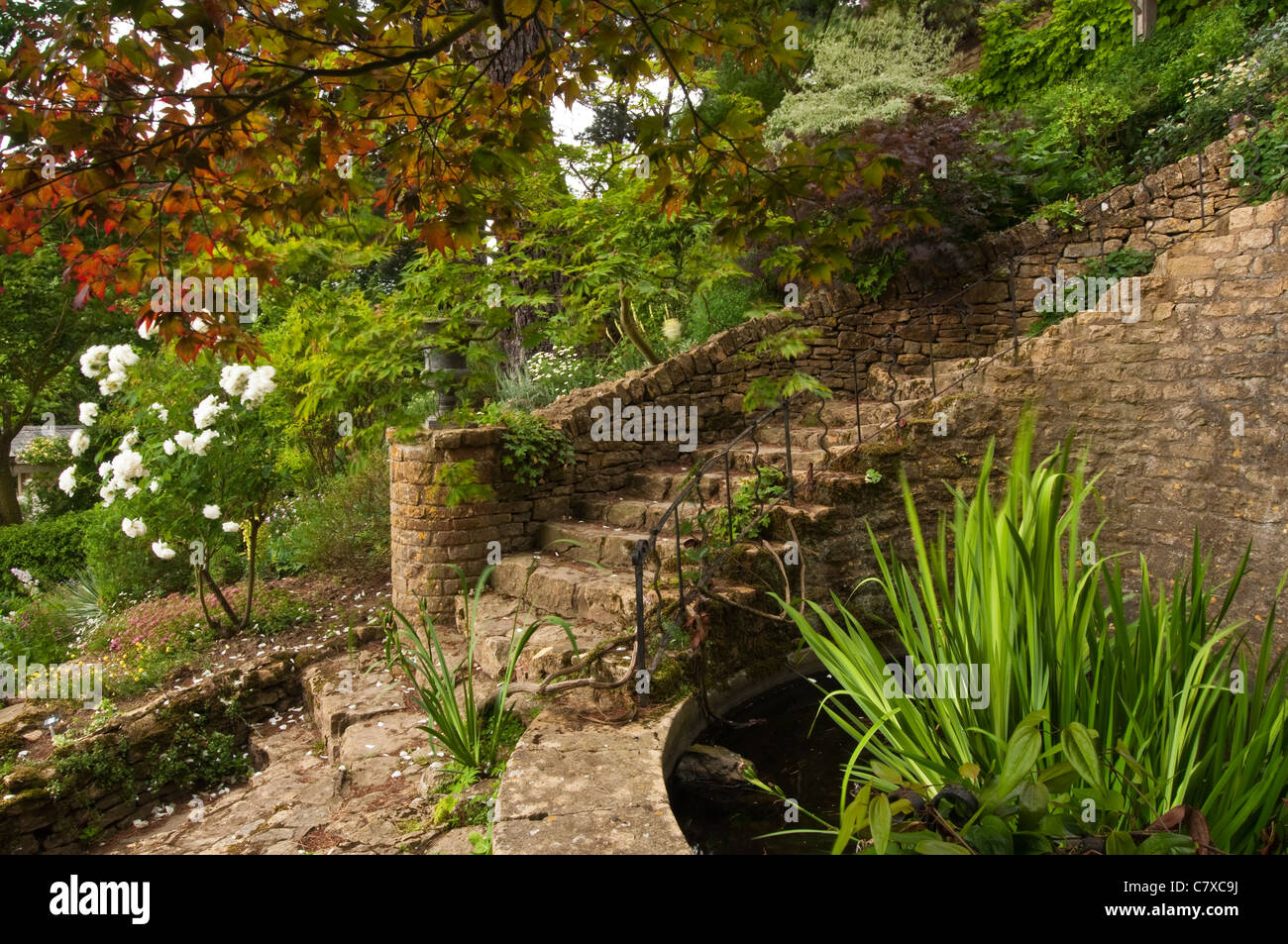 Sweeping stone steps amongst the landscaped gardens of Kiftsgate Court, Chipping Campden, Cotswolds, Gloucestershire, - Stock Image