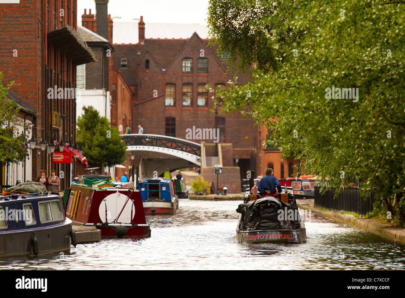 Barge on the canals of Birmingham, West Midlands, England, UK - Stock Image