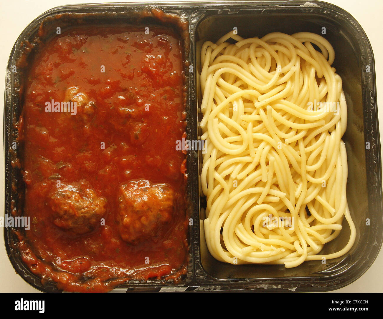 ready meal of vegetarian quorn meatballs and spaghetti - Stock Image