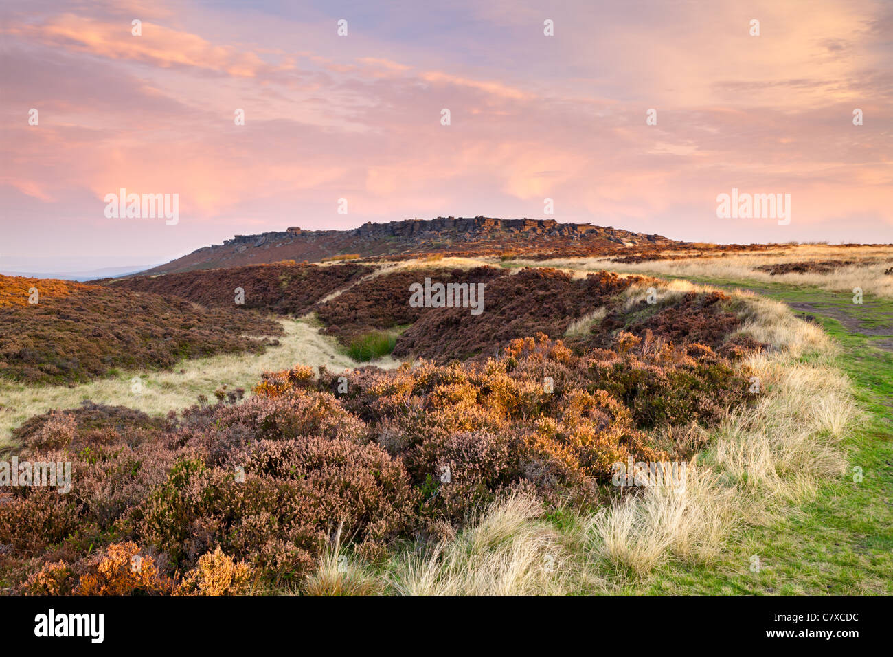 Sunrise, Stanage Edge, Peak District National Park, England, UK - Stock Image