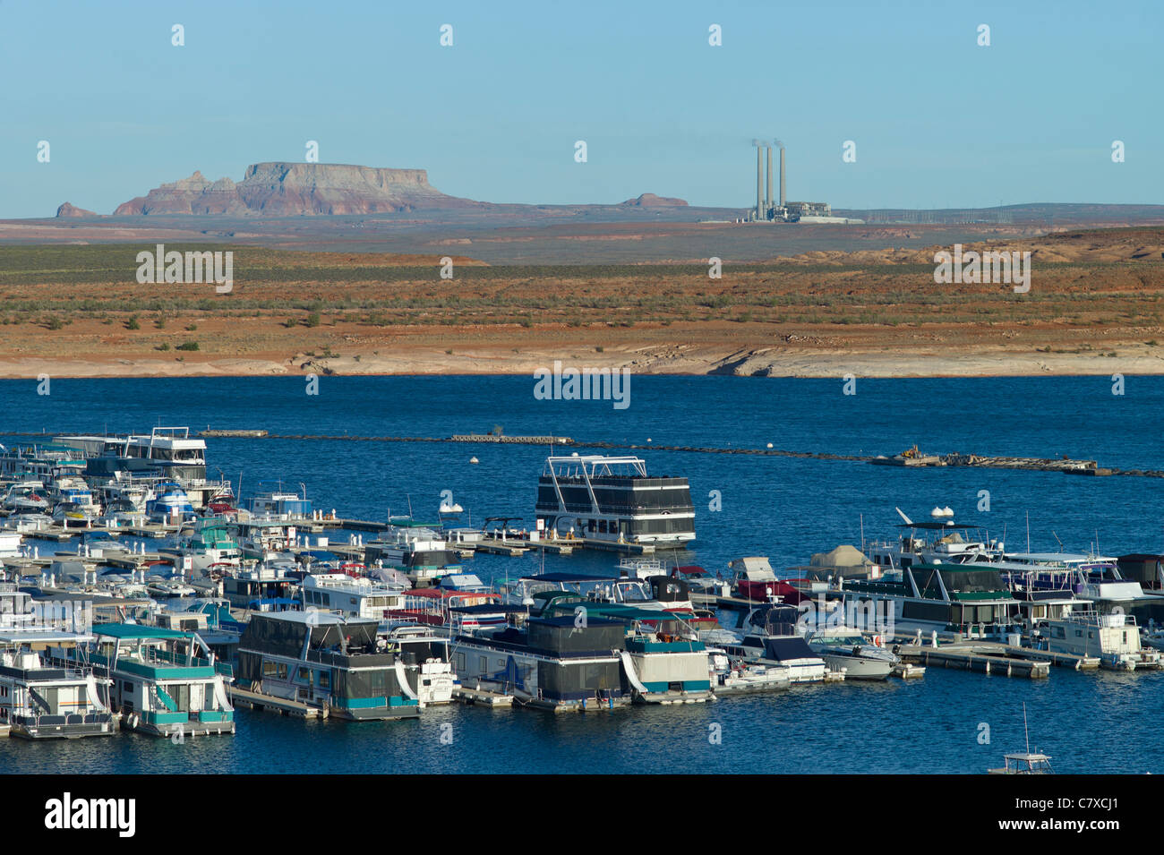 Marina, coal power generating plant, Lake Powell, Arizona, USA - Stock Image