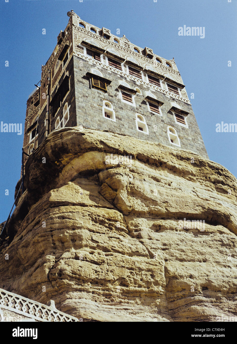 Dar al-Hajar (Rock Palace) in the valley of Wadi Dahr, Yemen - The Palace was built as a summer home for Imam Yahya - Stock Image