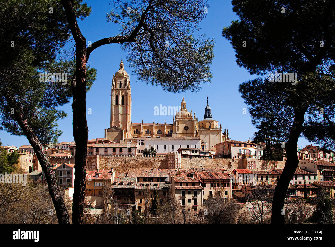 Historical Center and Cathedral of Segovia Castilla Leon Spain Centro histórico y Catedral de Segovia Castilla - Stock Image