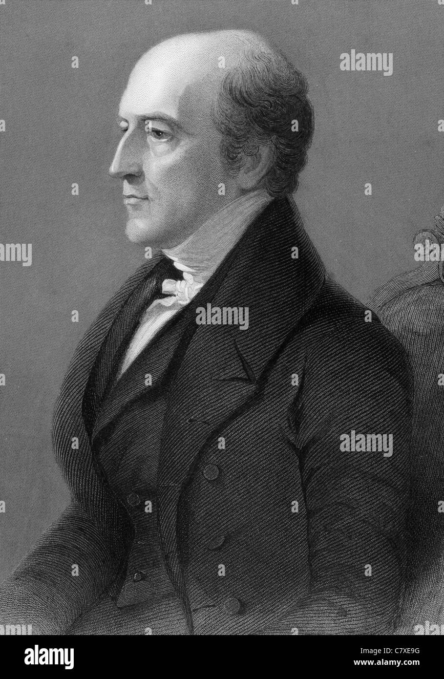 Thomas Langlois Lefroy (1776-1869) on engraving from 1800s. Irish-Huguenot politician and judge. - Stock Image