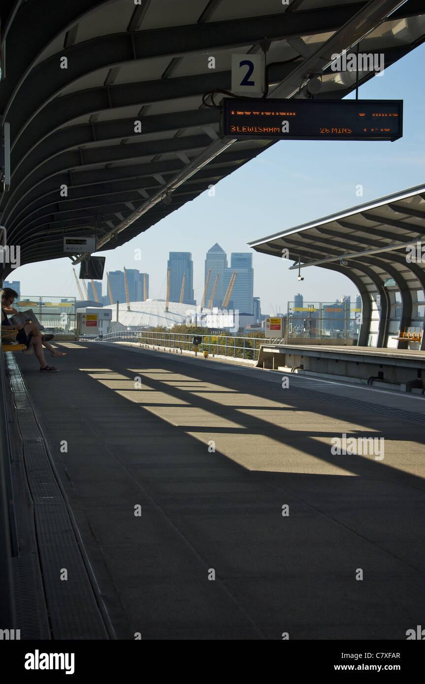 Pontoon Dock, DLR station, London - Stock Image