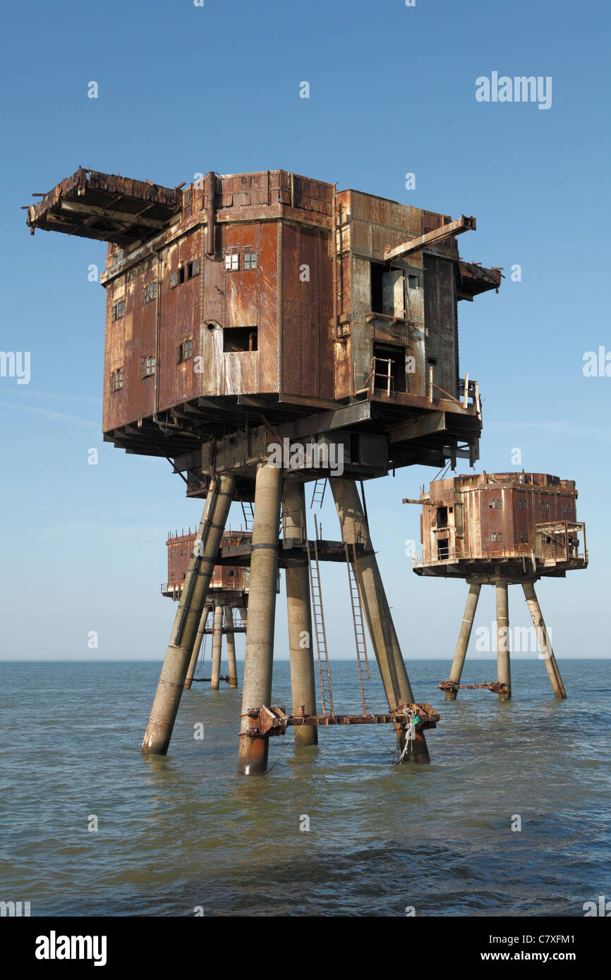 An abandoned wartime fort at the Red Sands visible from Kent and Essex. - Stock Image
