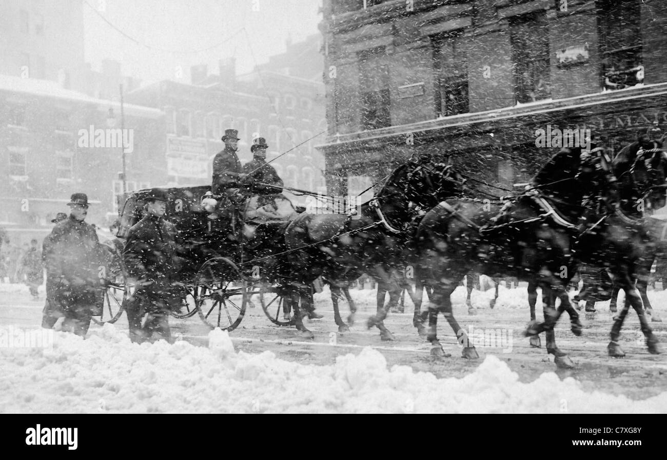 President elect Taft & President Roosevelt driving to Capitol for Taft's Inauguration during a blizzard - Stock Image