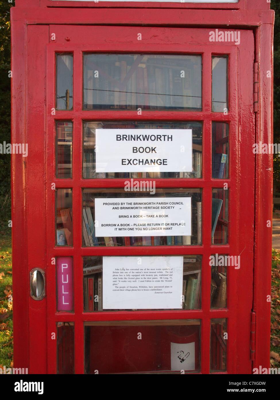 Book Exchange in Red Phone Box, Brinkworth,  Wiltshire - Stock Image