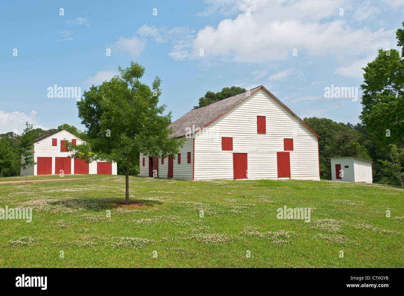 white barns with red doors near Natchez, Mississippi - Stock Image