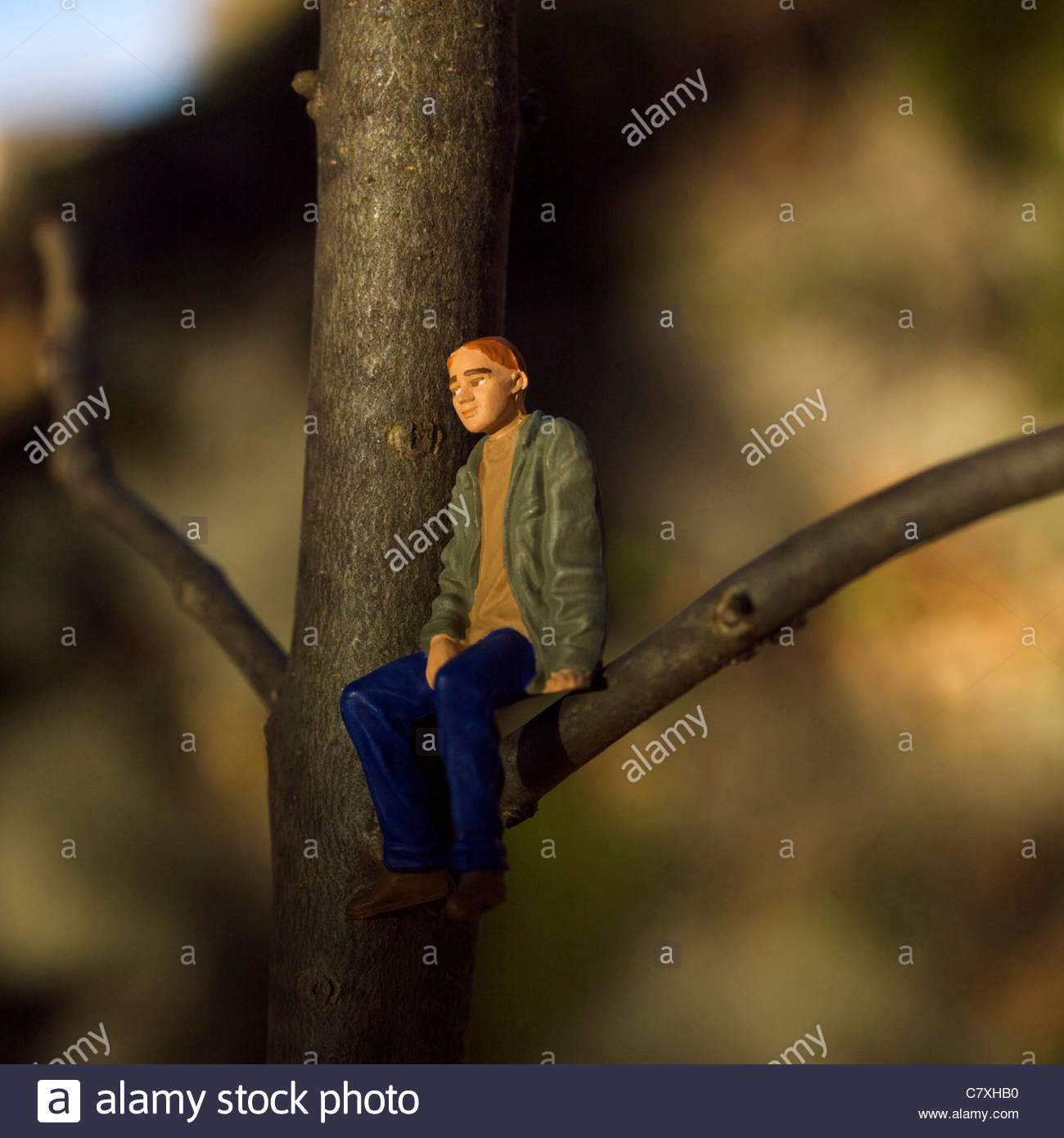 Solitary male figure alone - Stock Image