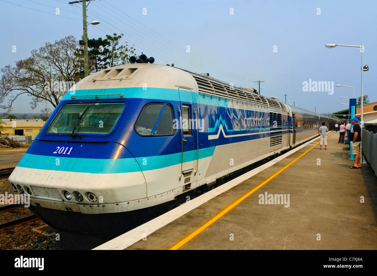 Streamlined long-distance train - Stock Image