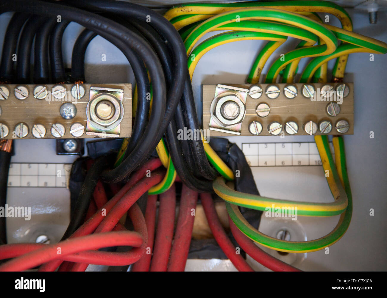 Marvelous Mains Cabling Consumer Unit Electrical Connections Stock Photo Wiring 101 Capemaxxcnl