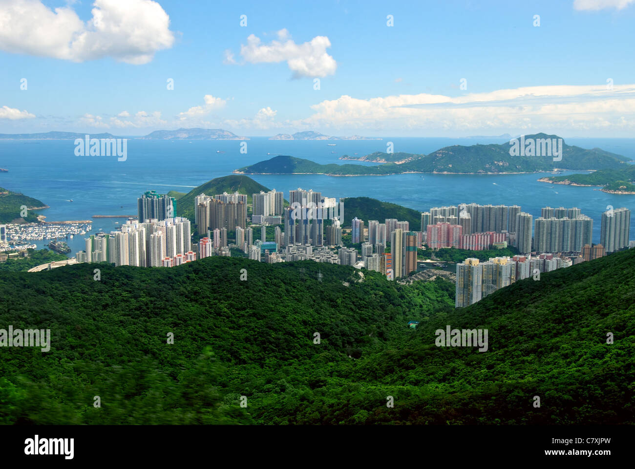 A view down to Aberdeen, Ap Lei Chau and Lamma Island beyond. - Stock Image