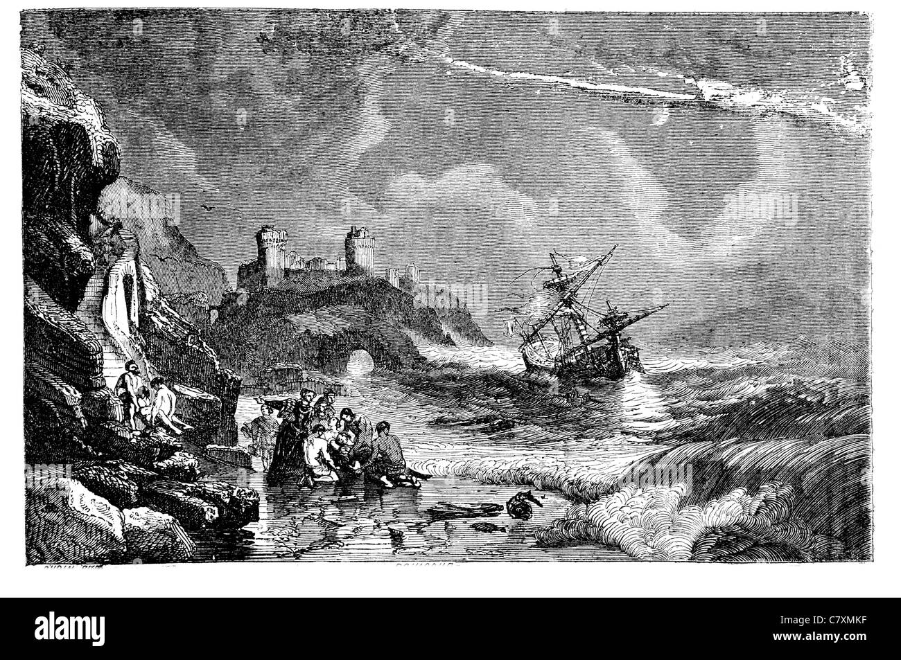 Wreck wrecked Armada ship Coast Irish Ireland storm castle Shipwreck rescued launched rescuing rescue saved save - Stock Image
