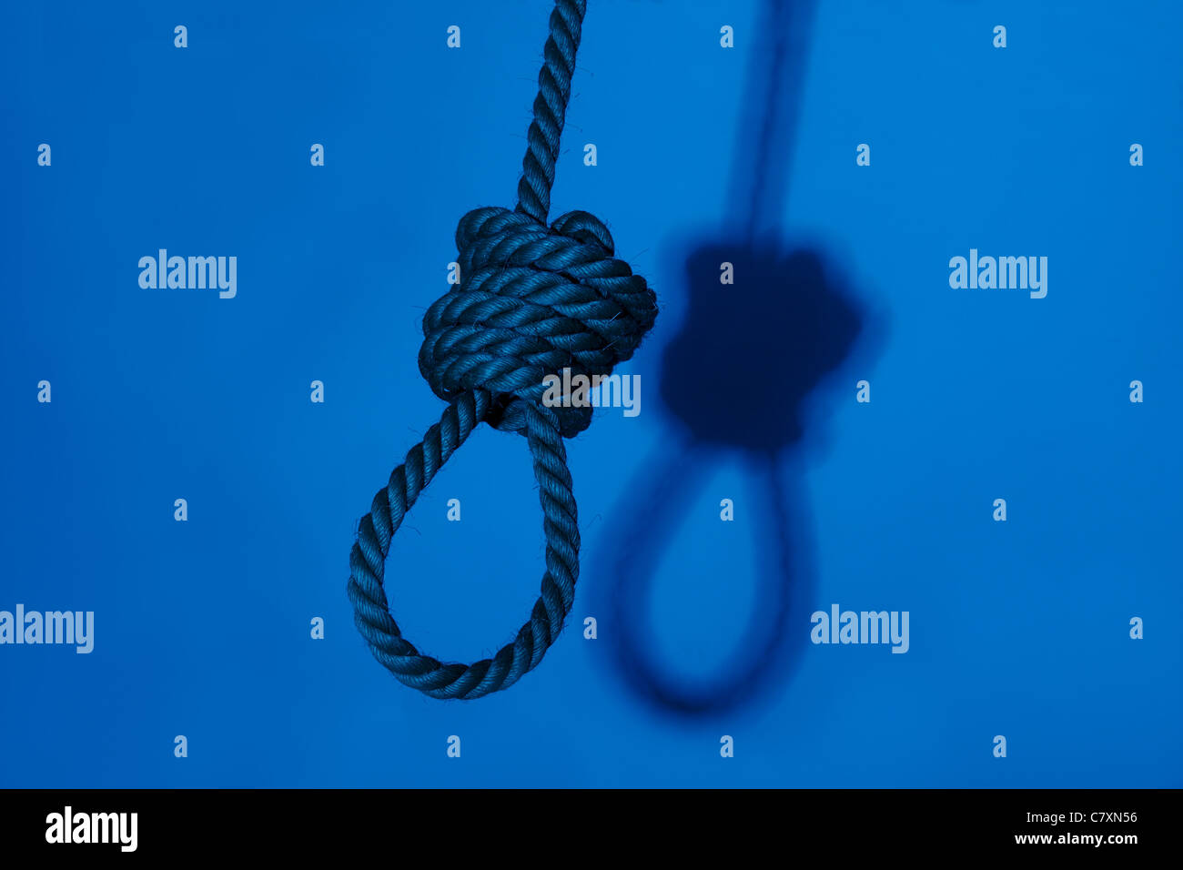 A night shot of a noose with background shadow - Stock Image
