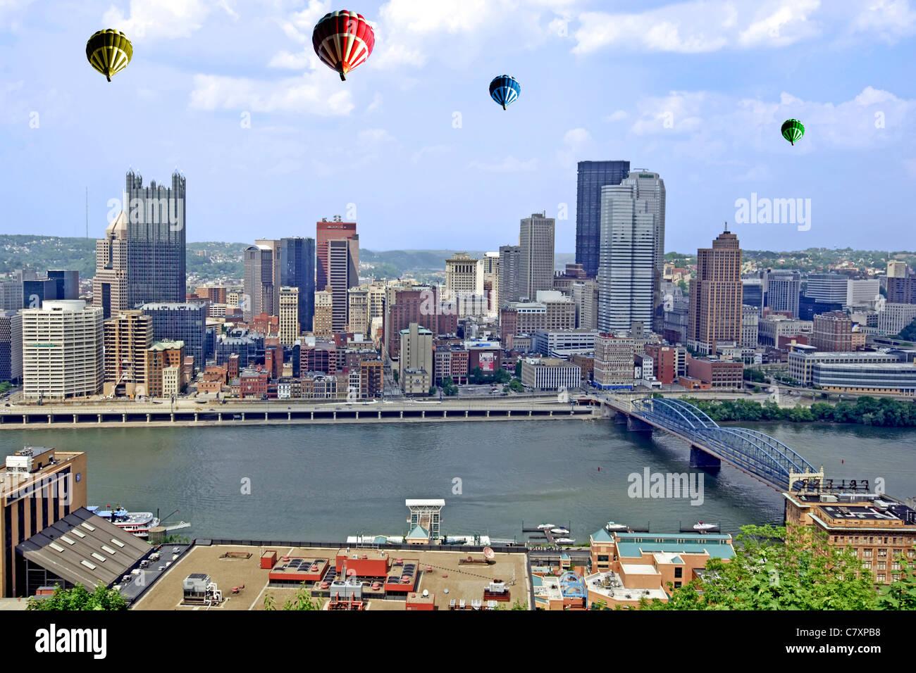Hot Air Balloons Over Pittsburgh City Pennsylvania Stock