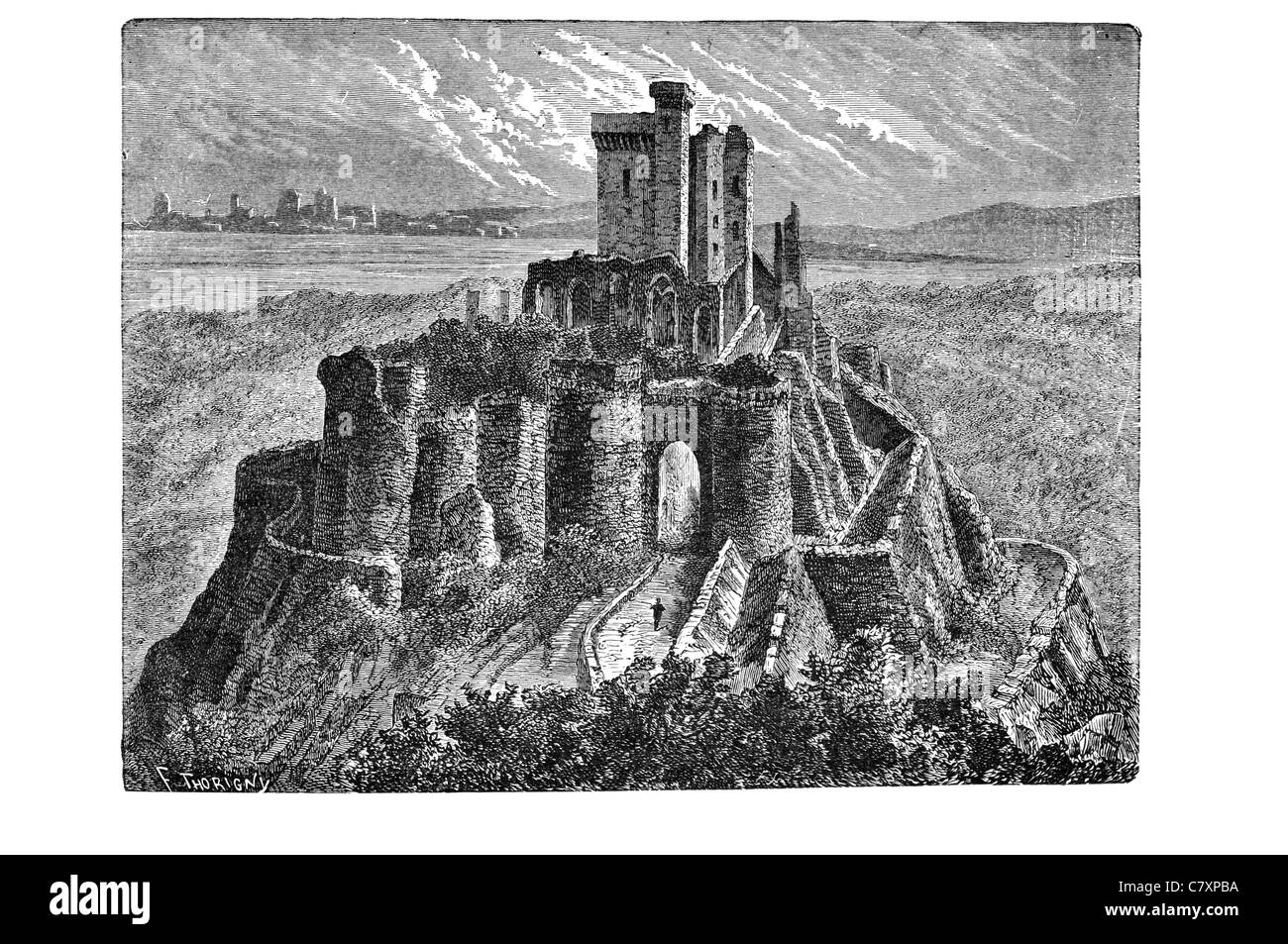 château d'arques ruin ruined ruins Castle castles fortification bastion palace tower stronghold citadel - Stock Image