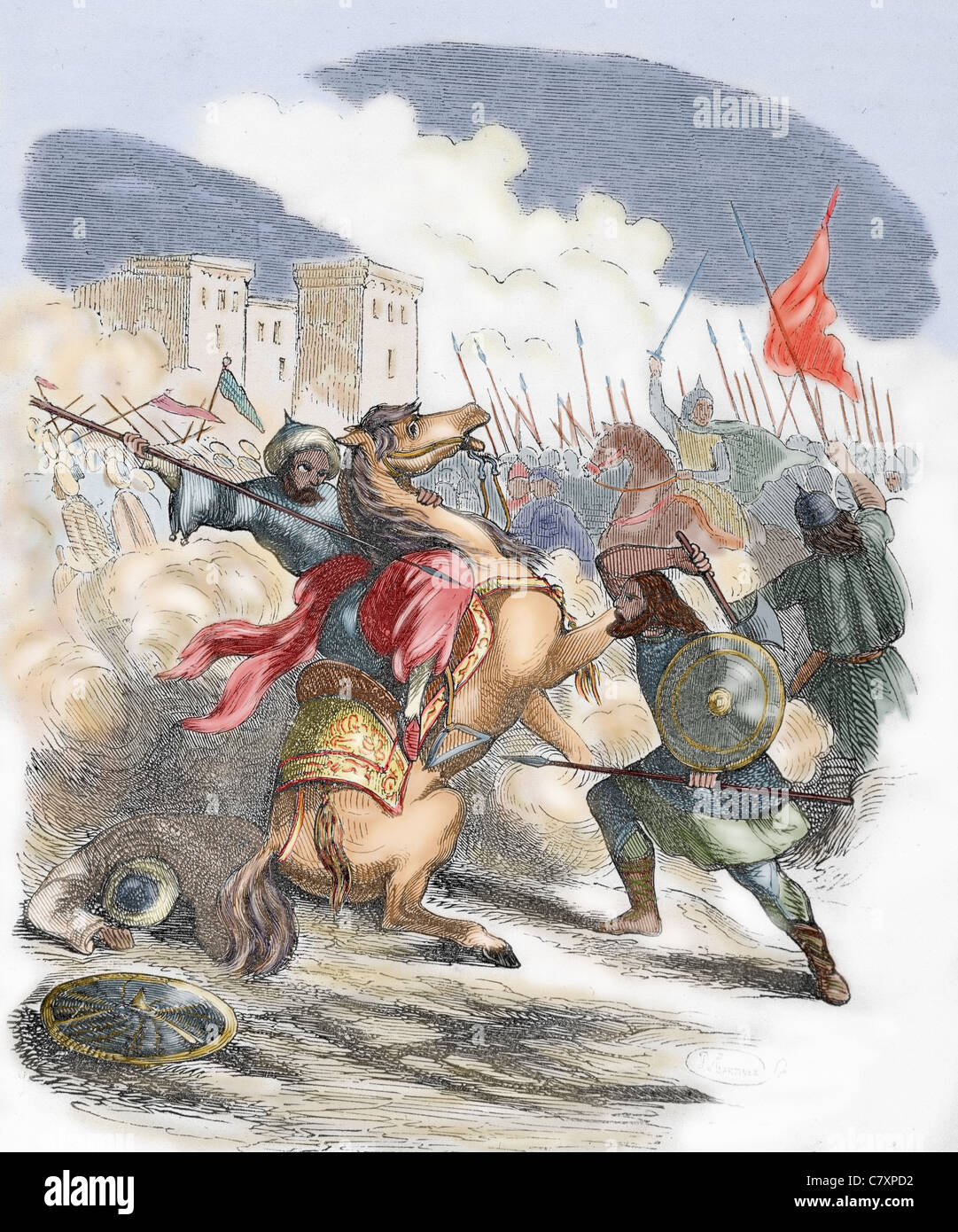 Sancho VII the Strong (1154-1234). King of Navarre (1194-1234). Battle. Colored engraving. - Stock Image