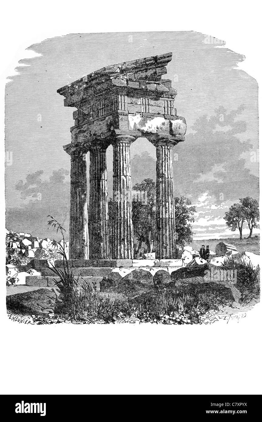 Temple Castor Pollux ancient edifice Roman Forum Rome Italy Battle of Lake Regillus octostyle peripteral Corinthian - Stock Image