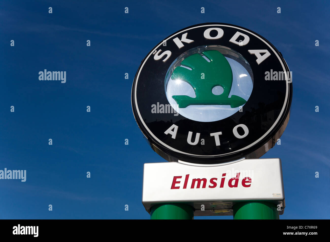 Sign, Skoda main dealer, London, UK - Stock Image