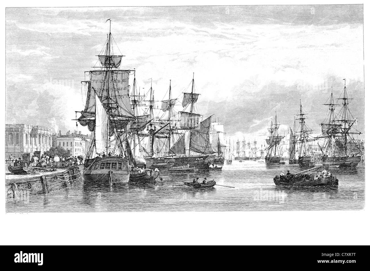 Yarmouth Docks Harbor sail sailing sailor ship ships shipping war marine vessel cargo goods seas sea transport fishing - Stock Image