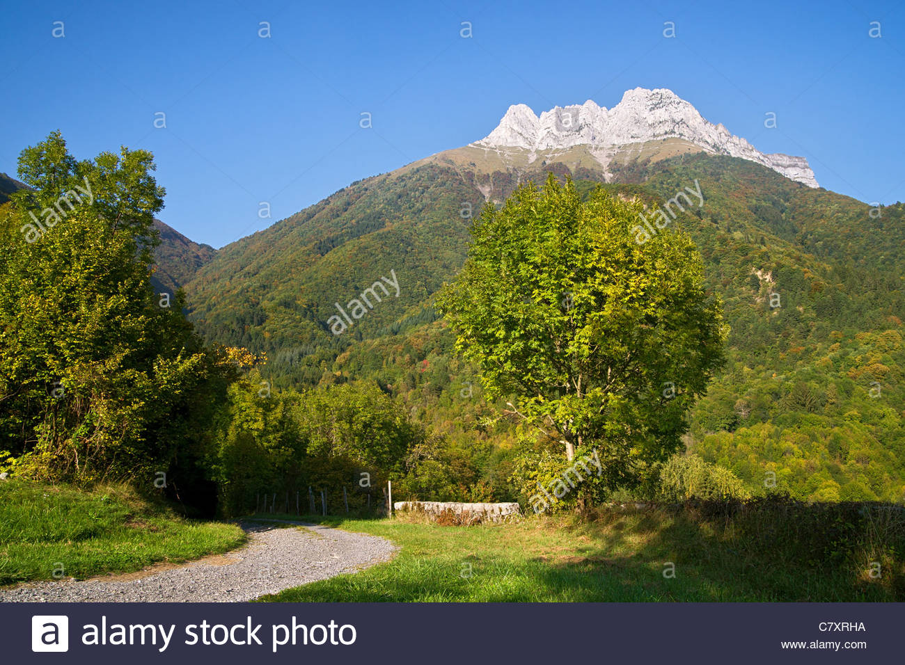Dent d'Arclusaz in the Bauges mountain range near Saint Pierre d'Albigny - Savoy - France - Stock Image