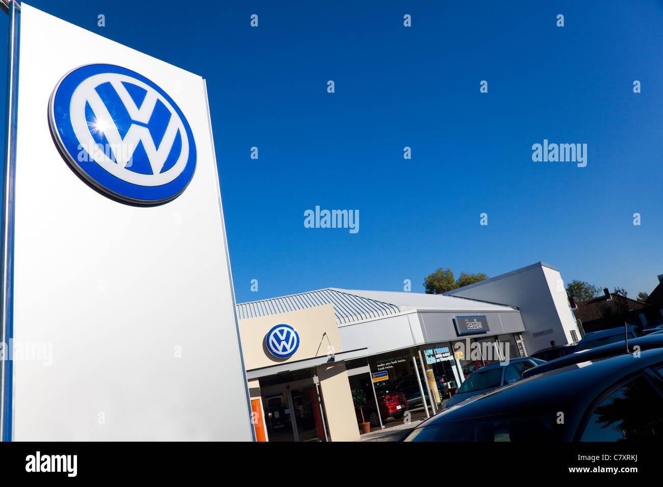 Sign, Volkswagen main dealer, London, UK - Stock Image