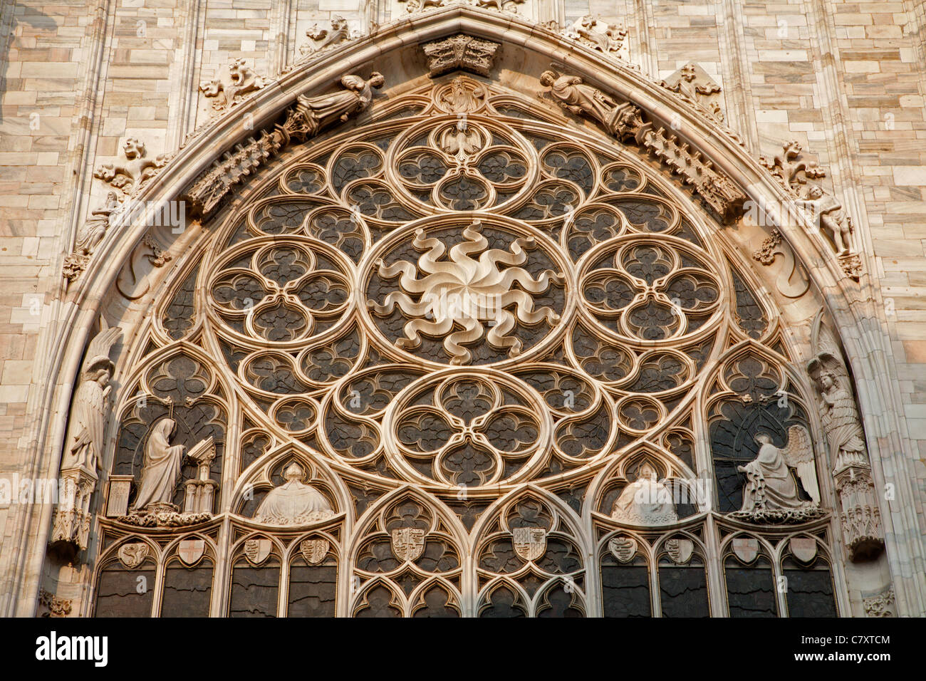 Milan - gothic rosette from Duomo cathedral - Stock Image