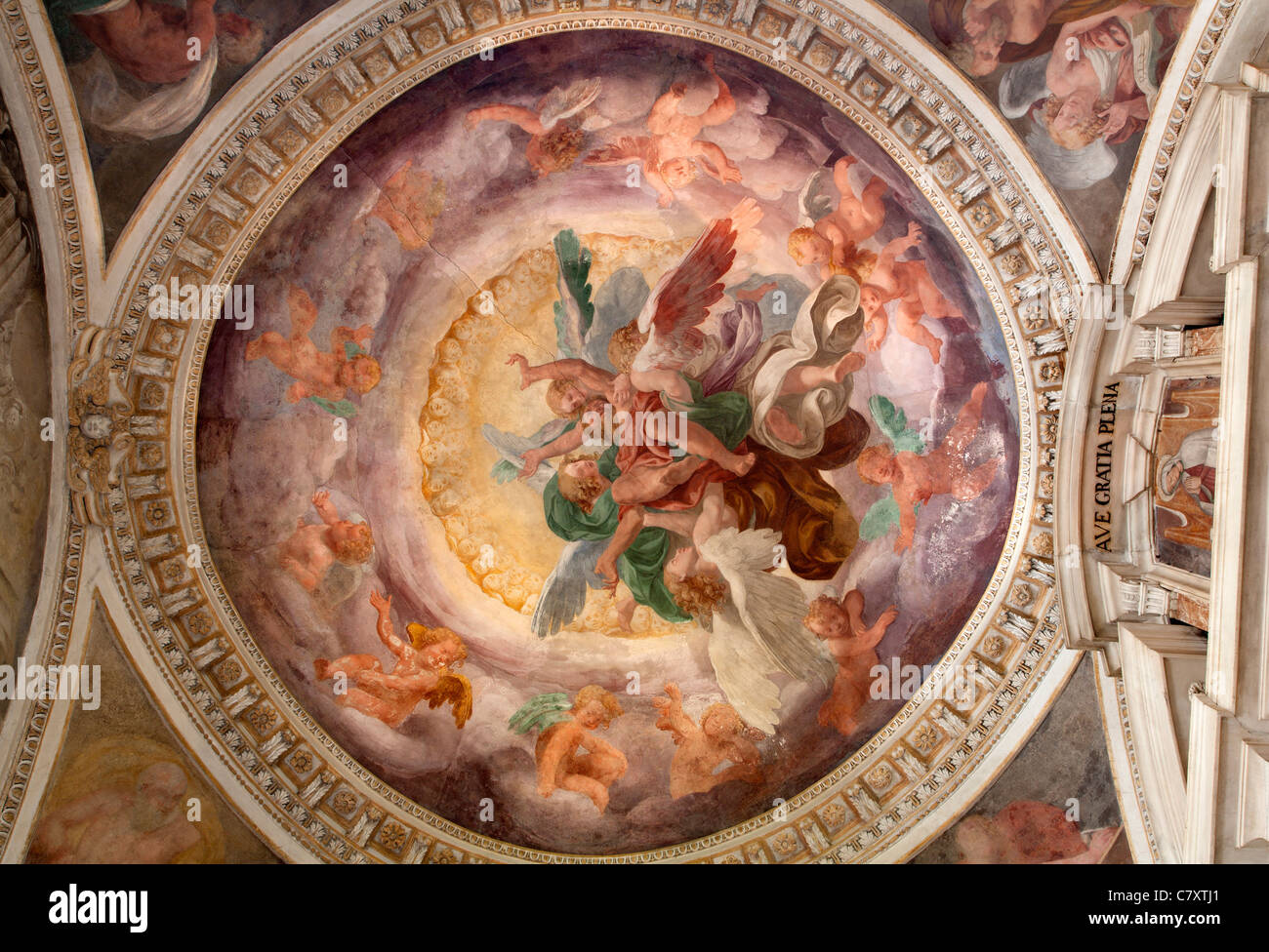 Milan - fresco from one cupola of Cappella Portinari - Stock Image