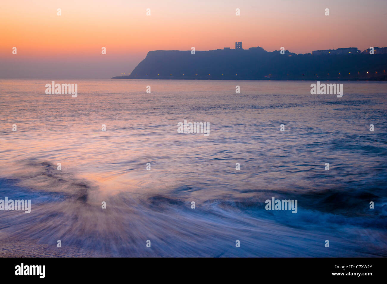 Misty Dawn Scarborough North Bay, North Yorkshire - Stock Image