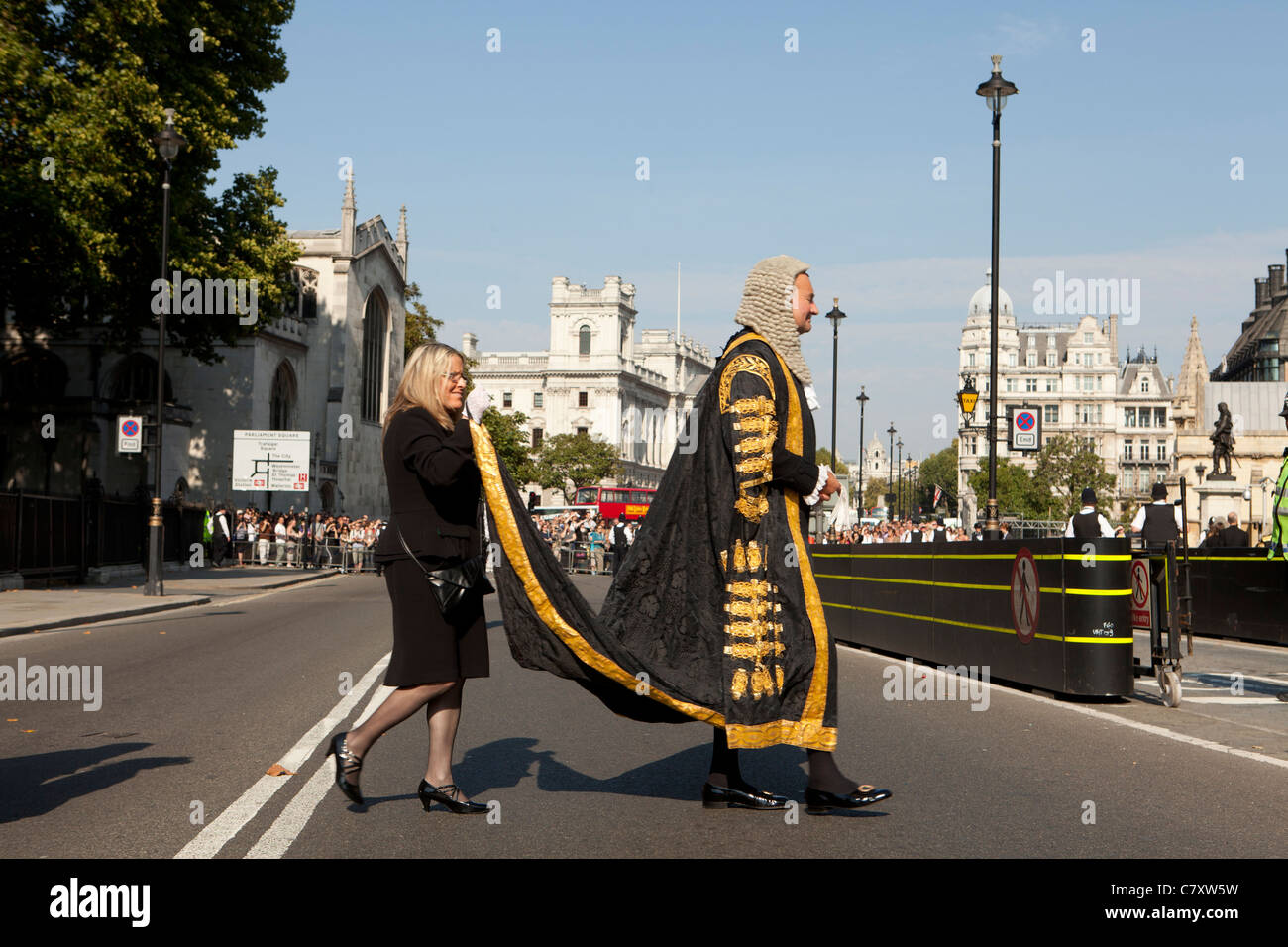Lord Chancellor's Breakfast. Members of the Judiciary in procession from  Westminster Abbey to Houses of Parliament. Stock Photo