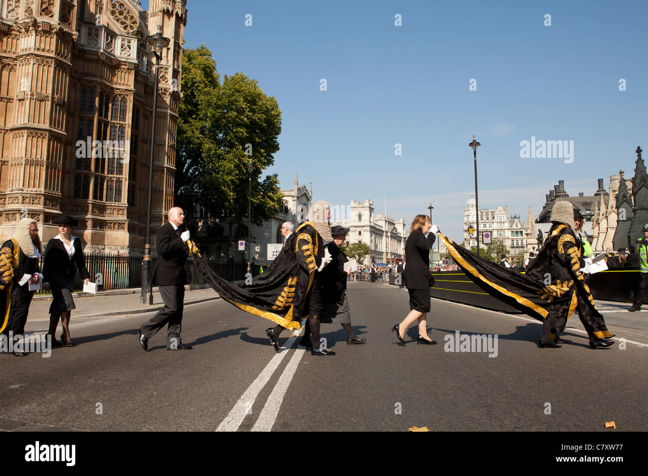 Lord Chancellor's Breakfast. Members of the Judiciary in procession from  Westminster Abbey to Houses of Parliament. - Stock Image