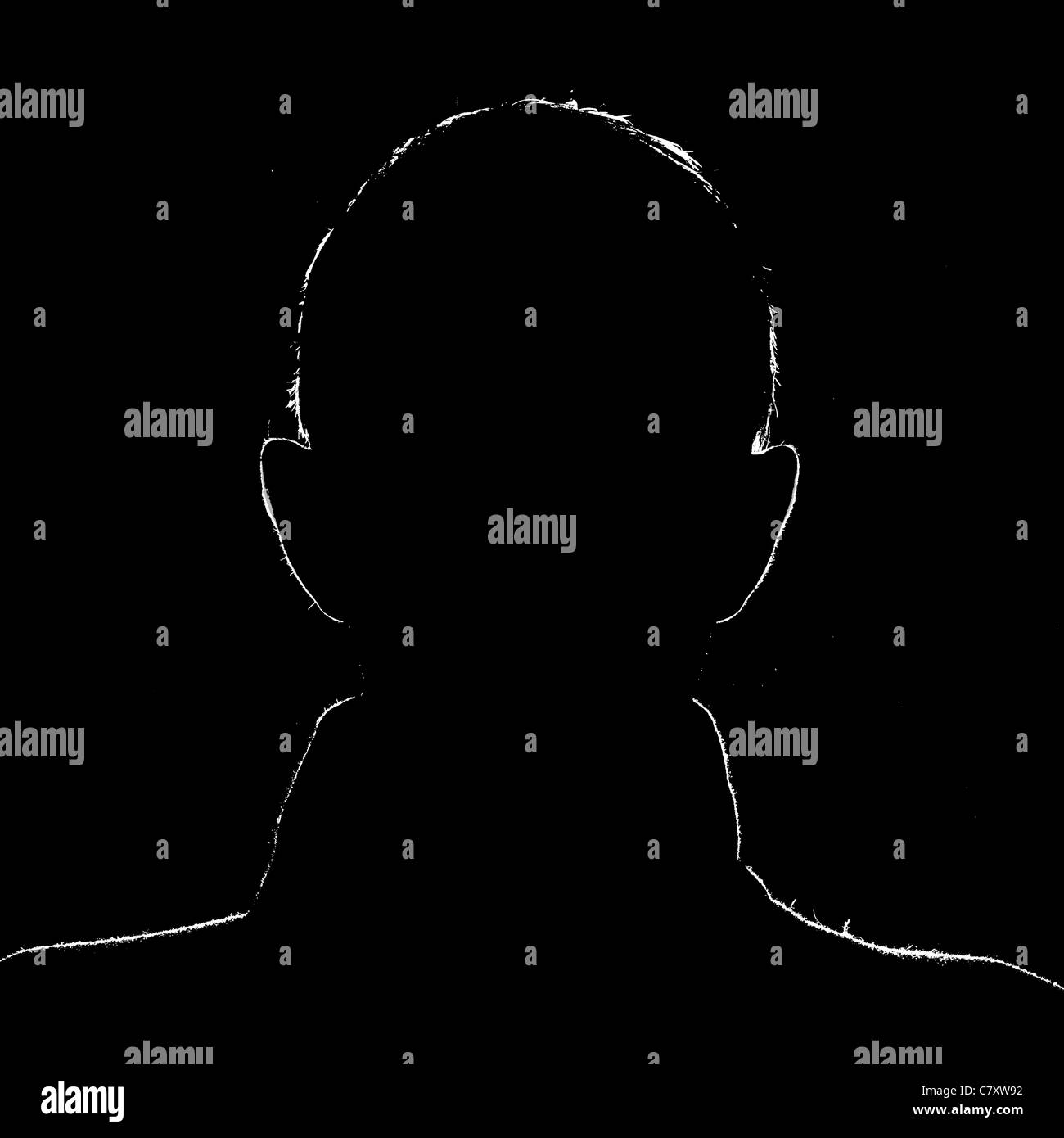 Sillhouette of a man on black background set in a 1:1 image with the man outlined in white. - Stock Image