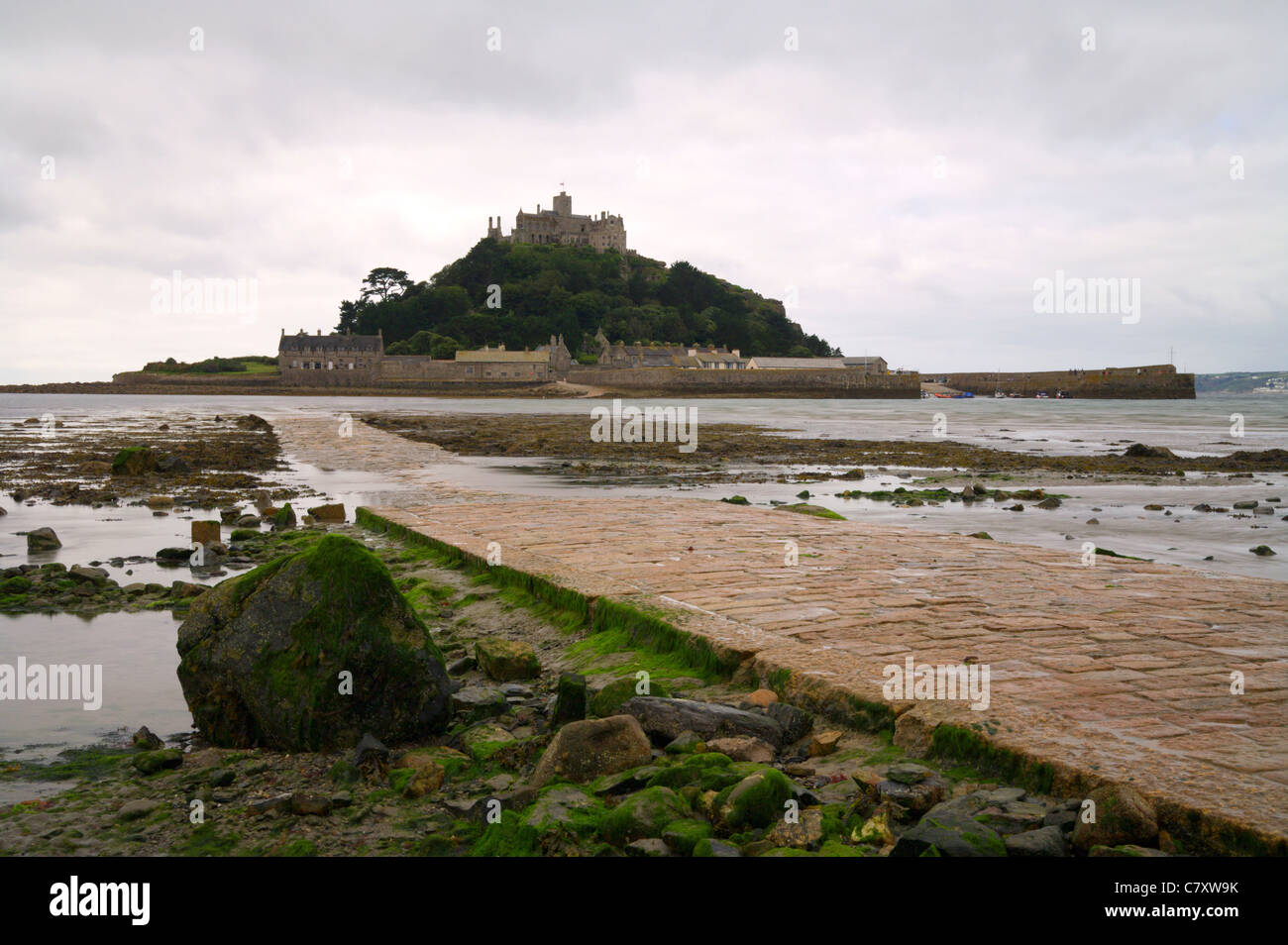 St Michaels Mount, Tide out revealing the causeway, Cornwall - Stock Image